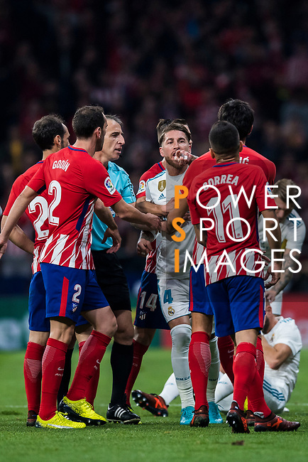 Sergio Ramos of Real Madrid confronts with Angel Correa of Atletico de Madrid during the La Liga 2017-18 match between Atletico de Madrid and Real Madrid at Wanda Metropolitano  on November 18 2017 in Madrid, Spain. Photo by Diego Gonzalez / Power Sport Images