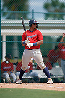 GCL Twins Victor Heredia (19) at bat during a Gulf Coast League game against the GCL Pirates on August 6, 2019 at Pirate City in Bradenton, Florida.  GCL Twins defeated the GCL Pirates 1-0 in the second game of a doubleheader.  (Mike Janes/Four Seam Images)