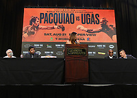 LAS VEGAS, NV - AUG 18: Manny Pacquiao, Heidi Androl and Yordenis Ugas at a press conference at the MGM Grand Garden Arena on August 18, 2021 for their upcoming Fox Sports PBC pay-per-view fight in Las Vegas, Nevada. Pacquiao vs Ugas pay-per-view will be on August 21 at T-Mobile Arena in Las Vegas. (Photo by Scott Kirkland/Fox Sports/PictureGroup)