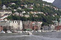 Water taxi crossing Harbour towards tyskebrygga, Bergen, Norway