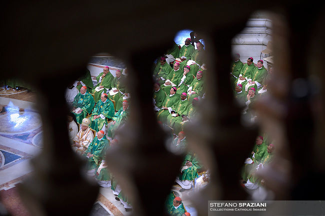 Pope Francis celebrates a closing mass at the end of the Synod of Bishops at the Saint Peter's Basilica in Vatican on October 28, 2018
