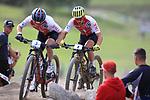 UCI 2021 Mountain Bike Cross Country World  Championships   in Commezzadura on August 28, 2021. Men Olympic,  Mathias Flueckiger (SUI), Nino Schurter (SUI)