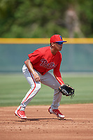 Philadelphia Phillies Nicolas Torres (19) during a minor league Spring Training game against the Pittsburgh Pirates on March 13, 2019 at Pirate City in Bradenton, Florida.  (Mike Janes/Four Seam Images)