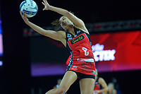 Kimiora Poi takes a pass during the ANZ Premiership netball final between Northern Mystics and Mainland Tactix at Spark Arena in Auckland, New Zealand on Sunday, 8 August 2021. Photo: Dave Lintott / lintottphoto.co.nz