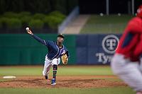Northwest Arkansas Naturals pitcher Yunior Marte (57) delivers a pitch on May 18, 2019, at Arvest Ballpark in Springdale, Arkansas. (Jason Ivester/Four Seam Images)