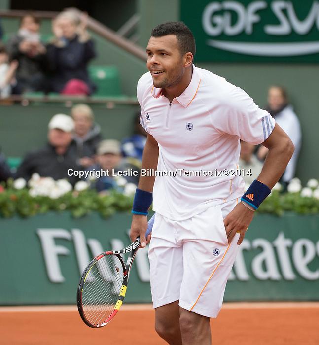 Jo Wilfried Tsonga (FRA) defeats Jurgen Meltzer (AUT) 6-2, 6-3, 6-4 at  Roland Garros being played at Stade Roland Garros in Paris, France on May 28, 2014
