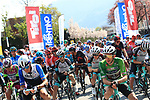 Tour of the Alps UCI Cycling Race. , Italy on April 22, 2021.  Stage 3 from Naturns/Naturno to Pieve di Bono, Italy. In green, Simon Yates Team BikeExchange