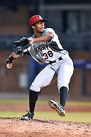Hickory Crawdads pitcher Dillon Tate (38) delivers a pitch during game 3 of the South Atlantic League Championship Series between the Asheville Tourists and the Hickory Crawdads on September 17, 2015 in Asheville, North Carolina. The Crawdads defeated the Tourists 5-1 to win the championship. (Tony Farlow/Four Seam Images)