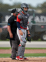 Doral Academy Firebirds catcher Abdier Rivera (44) during the IMG National Classic on March 29, 2021 at IMG Academy in Bradenton, Florida.  (Mike Janes/Four Seam Images)