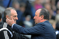 Rafa Benitez manager of Newcastle United greets Francesco Guidolin manager of Swansea City during the Barclays Premier League match between Newcastle United and Swansea City played at St. James' Park, Newcastle upon Tyne, on the 16th April 2016
