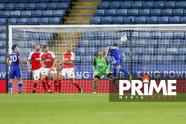 Vicente Iborra of Leicester City (right) scores his team's second goal of the game during the English League Cup Round 2 Group North match between Leicester City and Fleetwood Town at the King Power Stadium, Leicester, England on 28 August 2018. Photo by David Horn.