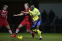 Suleiman Bakalandwa of Wingate & Finchley and Ronnie Winn of Hornchurch during Hornchurch vs Wingate & Finchley, Pitching In Isthmian League Premier Division Football at Hornchurch Stadium on 6th October 2020