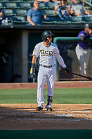 Wilfredo Tovar (1) of the Salt Lake Bees bats against the Albuquerque Isotopes at Smith's Ballpark on April 27, 2019 in Salt Lake City, Utah. The Isotopes defeated the Bees 10-7. This was a makeup game from April 26, 2019 that was cancelled due to rain. (Stephen Smith/Four Seam Images)