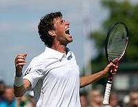 22-06-10, Tennis, England, Wimbledon, De schreeuw van Robin Haase na het berijken van de tweede ronde kwam uit zijn tenen