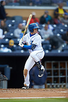 Nick Solak (3) of the Durham Bulls at bat against the Gwinnett Braves at Durham Bulls Athletic Park on April 20, 2019 in Durham, North Carolina. The Bulls defeated the Braves 11-3 in game one of a double-header. (Brian Westerholt/Four Seam Images)
