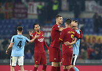 Football, Serie A: AS Roma - S.S. Lazio, Olympic stadium, Rome, January 26, 2020. <br /> Roma's players greet Lazio's players at the end of the Italian Serie A football match between Roma and Lazio at Olympic stadium in Rome, on January,  26, 2020. <br /> UPDATE IMAGES PRESS/Isabella Bonotto