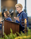 May 16, 2015; Jane Dammen McAuliffe, Ph.D., Director of the John W. Kluge Center at the Library of Congress, gives the Commencement address at the Graduate School Commencement ceremony. (Photo by Matt Cashore/University of Notre Dame)