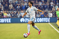 KANSAS CITY, KS - MAY 29: Luis Martins #36 Sporting KC with the ball during a game between Houston Dynamo and Sporting Kansas City at Children's Mercy Park on May 29, 2021 in Kansas City, Kansas.