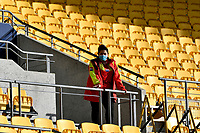 A security guard wears a face mask in front of an empty stand before the Bunnings NPC - Wellington v Canterbury at Sky Stadium, Wellington, New Zealand on Friday 8 October 2021.<br /> Photo by Masanori Udagawa. <br /> www.photowellington.photoshelter.comto