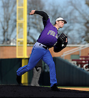 RHP Jake Wolff (8) of the Furman Paladins pitches in a game against the Miami (Ohio) Redhawks on Sunday, February 17, 2013, at Fluor Field at the West End in Greenville, South Carolina. Furman won, 6-5. (Tom Priddy/Four Seam Images)