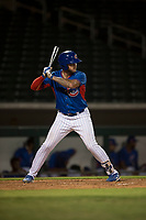 AZL Cubs 2 first baseman Tyler Alamo (3) at bat during an Arizona League game against the AZL Rangers at Sloan Park on July 7, 2018 in Mesa, Arizona. AZL Rangers defeated AZL Cubs 2 11-2. (Zachary Lucy/Four Seam Images)