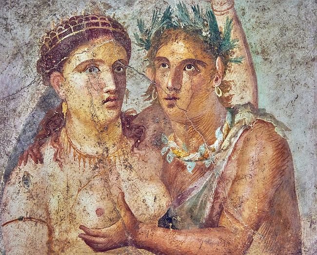 A satyr caressing a maiden a Roman erotic fresco painting from Pompeii 1st cent AD , from the Casa di L Cecilio Giocondo, inv no 110590 , Secret Museum or Secret Cabinet, Naples Archaeological Museum