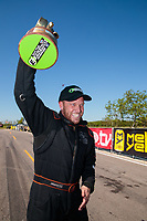 Apr 14, 2019; Baytown, TX, USA; NHRA mountain motor pro mod driver Steve Jackson celebrates after winning the Springnationals at Houston Raceway Park. Mandatory Credit: Mark J. Rebilas-USA TODAY Sports