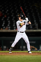 Mesa Solar Sox Greg Deichmann (9), of the Oakland Athletics organization, at bat during an Arizona Fall League game against the Scottsdale Scorpions on September 18, 2019 at Sloan Park in Mesa, Arizona. Scottsdale defeated Mesa 5-4. (Zachary Lucy/Four Seam Images)