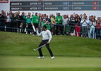 22.05.2015. Wentworth, England. BMW PGA Golf Championship. Round 2.  Alvaro Quiros [ESP] celebrates a putt on the 18th green
