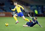 Kilmarnock v St Johnstone…..04.12.19   Rugby Park   SPFL<br />Michael O'Halloran skips a tackle from Alan Power<br />Picture by Graeme Hart.<br />Copyright Perthshire Picture Agency<br />Tel: 01738 623350  Mobile: 07990 594431