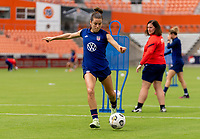 HOUSTON, TX - JUNE 9: Kelley O'Hara #5 of the USWNT strikes the ball during a training session at BBVA Stadium on June 9, 2021 in Houston, Texas.