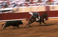 Europe/France/Aquitaine/64/Pyrénées-Atlantiques/Bayonne: Corrida à cheval dans les arènes lors des fêtes de Bayonne - Picador