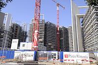 - Milan, construction site for urban planning conversion of Portello area, Parco Vittoria apartment complex....- Milano, cantieri edili per la riconversione urbanistica dell'area del  Portello, complesso residenziale Parco Vittoria