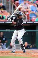 Syracuse Chiefs outfielder Eury Perez (1) at bat during a game against the Buffalo Bisons on July 23, 2014 at Coca-Cola Field in Buffalo, New  York.  Syracuse defeated Buffalo 5-0.  (Mike Janes/Four Seam Images)