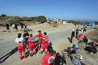 Pictured: Forensic archaeologists assisted by a digger, work at the second site in Kos, Greece. Sunday 16 October 2016<br />Re: Police teams led by South Yorkshire Police are searching for missing toddler Ben Needham on the Greek island of Kos.<br />Ben, from Sheffield, was 21 months old when he disappeared on 24 July 1991 during a family holiday.<br />Digging has begun at a new site after a fresh line of inquiry suggested he could have been crushed by a digger.