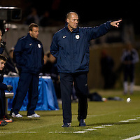 Virginia head coach George Gelnovatch yells to his team during the ACC tournament semifinals at the Maryland SoccerPlex in Boyds, MD.  Virginia advanced to the finals after tying Notre Dame, 3-3, in overtime and then defeating them on penalty kicks.