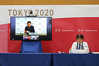 17th February 2021, Tokyo, Japan;  Christophe Dubi on the screen, Olympic Games, Olympische Spiele, Olympia, Executive Director, speaks during the International Olympic Committee IOC, the International Paralympic Committee IPC and the Tokyo Organising Committee of the Olympic & Paralympic Games Tokyo 2020 joint press briefing in Tokyo, Japan, Feb. 17, 2021. Tokyo 2020, IOC and IPC hosted a joint working meeting via teleconference focusing on COVID-19 countermeasures 15-17, Feb.