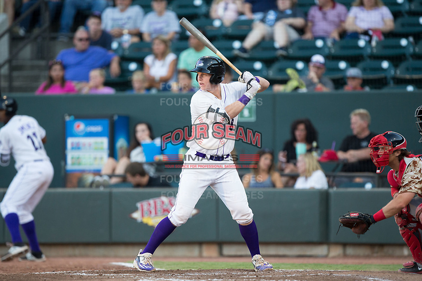 Zack Collins (8) of the Winston-Salem Dash at bat against the Potomac Nationals at BB&T Ballpark on August 5, 2017 in Winston-Salem, North Carolina.  The Dash defeated the Nationals 6-0.  (Brian Westerholt/Four Seam Images)