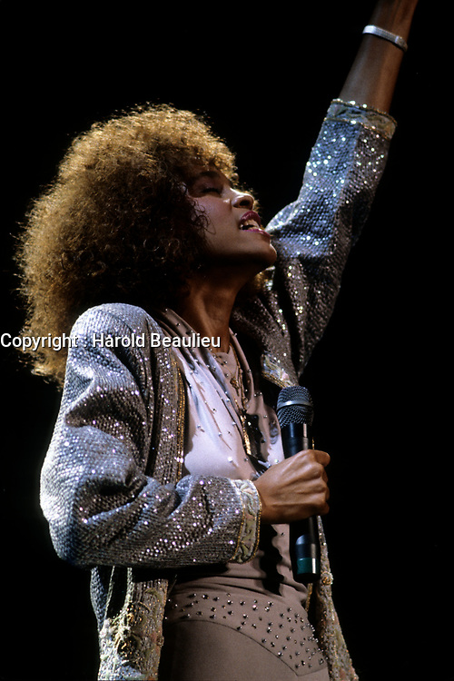 FILE PHOTO (Exact date unknown) - Whitney Houston  in the eighties<br /> <br /> PHOTO : Harold Beaulieu -  Agence Quebec Presse