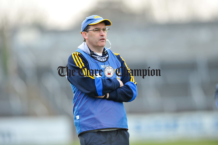 Clare manager Ger O Loughlin on the sideline during their National hurling league game at Cusack Park, Ennis. Photograph by John Kelly.
