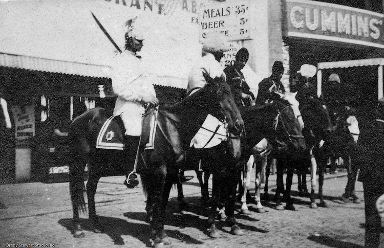 St Louis MO:  A view of riders preparing to participate in one of the daily parades as part of the Cummins Indian Congress show.