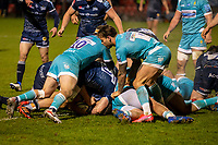 8th January 2021; AJ Bell Stadium, Salford, Lancashire, England; English Premiership Rugby, Sale Sharks versus Worcester Warriors; Jono Ross of Sale Sharks sscores a late try to seal the game at 20-13