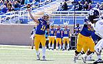 BROOKINGS, SD - APRIL 24: South Dakota State Jackrabbits quarterback Mark Gronowski #11 passes the ball against the Holy Cross Crusaders at Dana J Dykhouse Stadium on April 24, 2021 in Brookings, South Dakota. (Photo by Dave Eggen/Inertia)