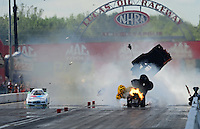 Sept 9, 2012; Clermont, IN, USA: NHRA funny car driver Todd Lesenko (right) blows the body off his car in a fiery explosion alongside Jack Beckman during the US Nationals at Lucas Oil Raceway. Mandatory Credit: Mark J. Rebilas-