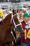 June 8, 2013. Belmont contender Golden Soul enters the track for the post parade. Palace Malice, Mike Smith up, wins the Belmont Stakes at Belmont Park, Elmont, New York. Trainer is Todd Pletcher (Joan Fairman Kanes/Eclipse Sportswire)