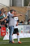 19.09.2020, Dietmar-Scholze-Stadion an der Lohmuehle, Luebeck, GER, 3. Liga, VfB Luebeck vs 1.FC Saarbruecken <br /> <br /> DFB REGULATIONS PROHIBIT ANY USE OF PHOTOGRAPHS AS IMAGE SEQUENCES AND/OR QUASI-VIDEO.<br /> <br /> im Bild / picture shows <br /> Trainer Lukas Kwasniok (1.FC Saarbruecken) gibt Tobias Jänicke/Jaenicke (1.FC Saarbruecken) Anweisungen<br /> <br /> Foto © nordphoto / Tauchnitz