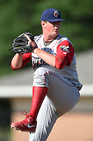 Williamsport Crosscutters pitcher David Whitehead (45) delivers a pitch during a game against the Batavia Muckdogs on July 27, 2014 at Dwyer Stadium in Batavia, New York.  Batavia defeated Williamsport 6-5.  (Mike Janes/Four Seam Images)