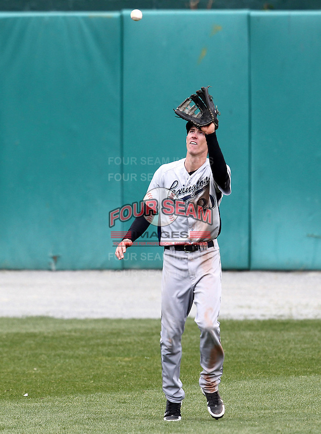 Lexington Legends outfielder Drew Muren #20 catches a fly ball during a game against the Hagerstown Suns at Municipal Park on April 11, 2012 in Hagerstown, Maryland.  Lexington defeated Hagerstown 3-0.  (Mike Janes/Four Seam Images)