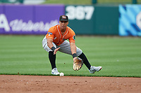 Norfolk Tides second baseman Christopher Bostick (1) fields a ground ball during an International League game against the Buffalo Bisons on June 21, 2019 at Sahlen Field in Buffalo, New York.  Buffalo defeated Norfolk 2-1, the first game of a doubleheader.  (Mike Janes/Four Seam Images)