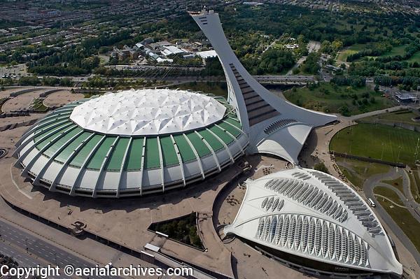 aerial photograph of the Olympic Stadium and Biodome, Montreal, Quebec, Canada | photographie aérienne du Stade olympique et du Biodôme, Montréal, Québec, Canada